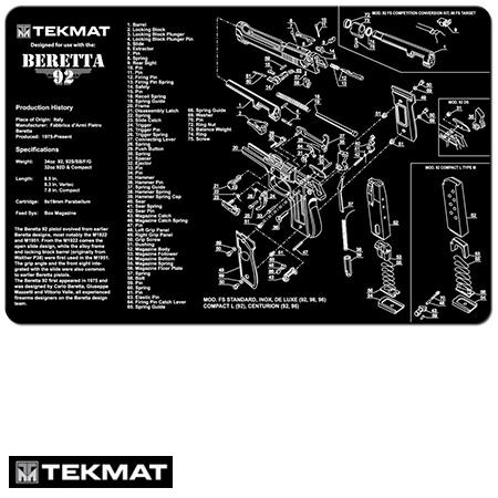 Beretta 92 TekMat Gun Cleaning Pad with Exploded View - Beck Tek
