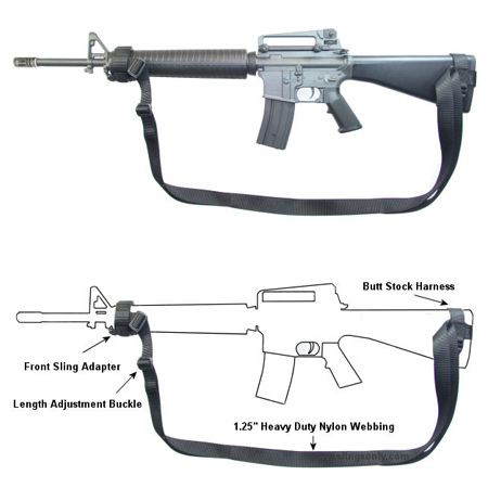how to put a 3 point sling on an m16