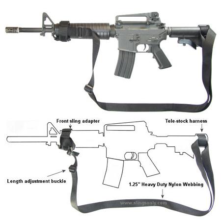 M4 AR-15 Two Point Tactical Sling Black - Slings Only   galatiinternational.com 83cc67b0173