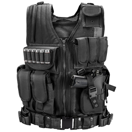 Black Deluxe Tactical Vest Husky Galati Gear
