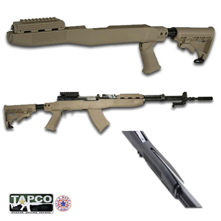 SKS Gun Stock with Blade Bayonet Cut - Dark Earth - Intrafuse by Tapco